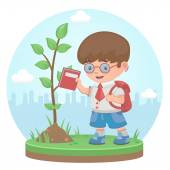 .Boy plant tree summer — Stock Vector