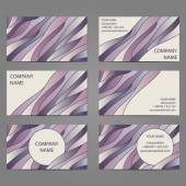 Set 6 of 3 horizontal business cards with 2 sides. — Vecteur