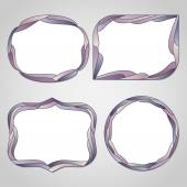 Set of abstract frames with waves. — Stock Vector