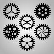 Set of cogwheels, pinions and gears. — Stock Vector #76627915