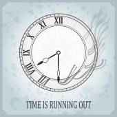 Vintage typography poster with clock time is running out — Stock Vector