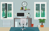 Grey home work room with stylish long shadows effect around office vector design. — Stock Vector