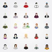 Set of twenty five modern people vector icons. — Stock Vector