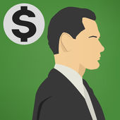 Young successful business man with a dollar sign vector icon. — Stock Vector
