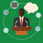 Black conference public speaker businessman — Stock Vector