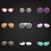 Set of nine sunglasses — Vettoriale Stock