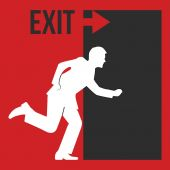 Red exit icon — Stock Vector