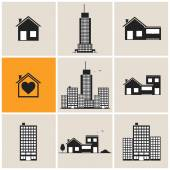 Black houses and buildings set — Stock Vector