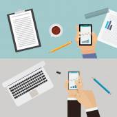 Pair of work desk overviews — Stock Vector
