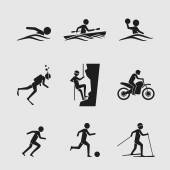 Man icons doing various outdoor activities — Vector de stock