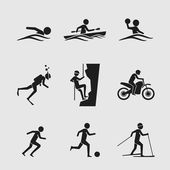 Man icons doing various outdoor activities — Stock Vector
