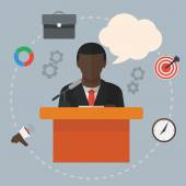 Conference public speaker black businessman — Stock Vector