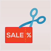 Scissors cutting a sale coupon — Stock Vector