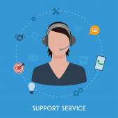 Customer support center operator service woman — Stock Vector