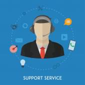Customer support center operator service man — Stock Vector
