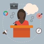 Black woman as a conference public speaker — Stock Vector
