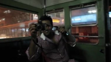 Riding on the bus at night in Mumbai, Maharashtra, India. First-person view. — Stock Video