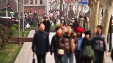 Time Lapse of Busy Street Traffic in Shanghai — Stock Video