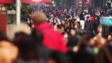 Slow Motion of Busy Crowds Traffic on Nanjing Road — Vidéo