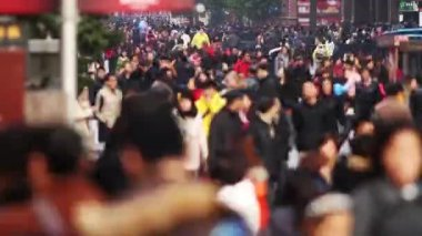Time Lapse of Busy Crowds Traffic on Nanjing Road — Stock Video