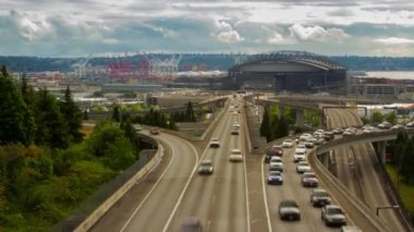 Seattle Safeco Field stadium with traffic — Stock Video