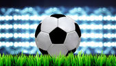 Soccer field and the bright lights — Stock Photo