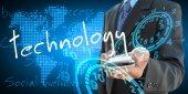 Businessman hand holding technology — Stock Photo