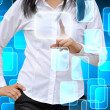 Woman hand pushing a button on a touch screen interface  — Stock Photo #56018199