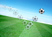 Movement of soccerball and beautiful blue sky — Stock Photo