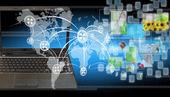 Fundo de tecnologia do mundo abstrato — Fotografia Stock