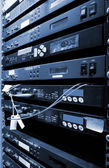 The communication and internet network server room — Стоковое фото