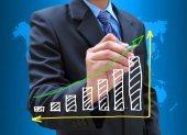 Hand drawing business graph — Stock Photo