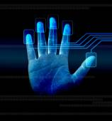 Scanning of finger on a touch screen interface — Stock Photo