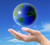 Hand, die eine Welt — Stockfoto