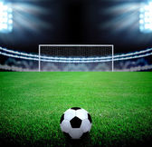 Soccer field and the bright lights — Stok fotoğraf