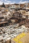Leather tanners Souk in the Medina of Fes — Stock Photo