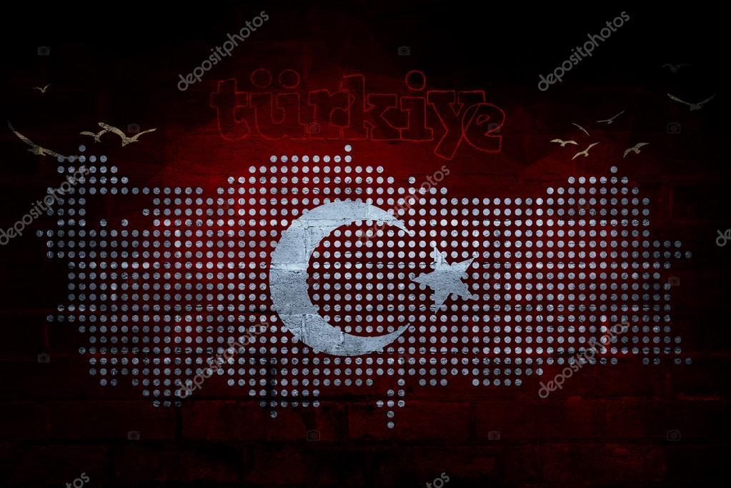 土耳其国旗和地图, 宴会和庆典的设计推广– 图库图片