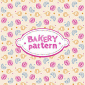 Pattern with sweets and pastries — Stock Vector