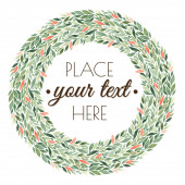 Round green floral pattern with place for text — Stock Photo