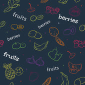 Fruit and berry seamless pattern — Stock Vector