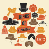 Kinds of headwear. Part 2. — Stock Vector