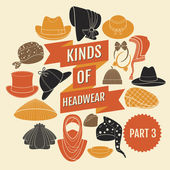 Kinds of headwear. Part 3. — Stock Vector