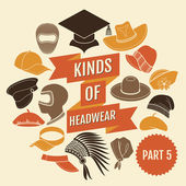 Kinds of headwear. Part 5. — Stockvector
