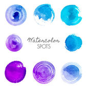 Watercolor spots in different shades of blue — Stock Vector