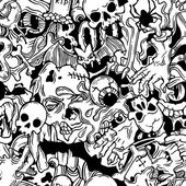 Seamless halloween pattern with horror elements — Stock Vector