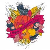 Sivri, tüyler, kestane, sebze ve meyve karikatür tarzı ile Şükran Günü tebrik kartı — Stok Vektör