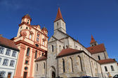 Protestant town church and Catholic Basilica St. Vitus in Ellwan — Stock Photo