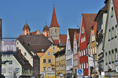 Old buildings and temples at the historic center  of  Ellwangen, — 图库照片