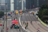 Street blockades in Hong Kong in 2014 — Foto Stock
