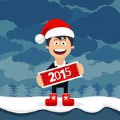 Christmas Cartoon flat business man — Stock Vector